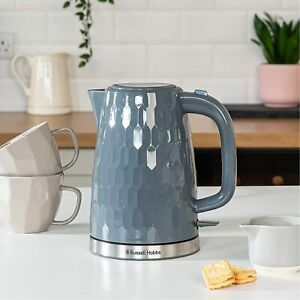 NEW Russell Hobbs 26053 Honeycomb Textured Rapid Boil Cordless Kettle Grey 1.7L