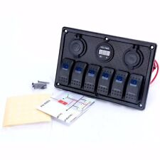 6 Gang 12V/24V Waterproof Rocker Switch Panel with Blue LED for Marine Boat