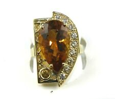 Huge Pear Citrine & Diamond Halo Solitaire Ring 14k Yellow Gold 7.57Ct