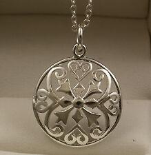 925 estampado de corazón de plata redondo círculo Colgante Con 18 Pulgadas Collar Cadena-uk-19