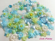 100pcs Blue Green Cabochons Embellishments Heart Bows Rose Pearls Flat-Back BC4