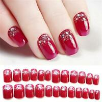 Pure Color Nail Extensions Fake False Nails Rhinestone Design Nail Tip Patch
