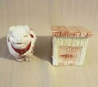 Vintage Bico China Ceramic Pig And House Salt & Pepper Shakers