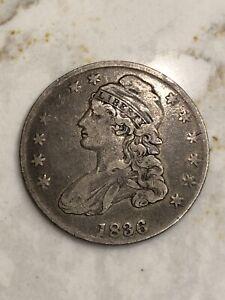 1836 Philadelphia Mint Silver Capped Bust Half Dollar, EF Extra Fine