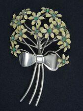 """VINTAGE 40's JEWELED ENAMEL FLOWER BOUQUET PIN BROOCH ~ 3.5"""""""