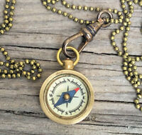 mini Compass Necklace Antique bronze chatelaine lanyard - Works! small tiny men