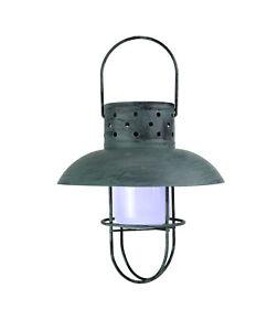 Weathered Coastal Blue Industrial Style Solar Powered LED Hanging Lantern