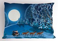 Christmas Pillow Sham Santa Winter Forest Printed Pillowcase 26 x 20 Inches