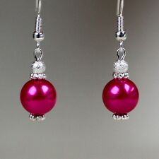 Hot pink pearls silver short drop dangle earrings wedding bridesmaid gift
