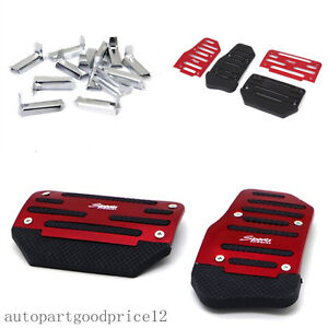 2x Red Car Automatic Transmission Non-Slip Foot Treadle Brake Accelerator Pedal