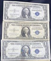 (5) Silver Certificates 1935 Only $1 Blue One Dollar Bill Lot No Tear Circulated