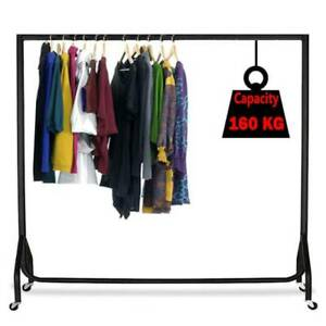 5FT Metal Clothes Rail Heavy Duty Garment Hanging Rack Home Shop Display Stand