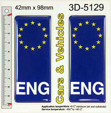 2x ENG England Number Plate Blue Sticker Decal Badge Euro EU Stars 3D Gel Resin