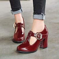 Women British Vintage Chunky Heels Pumps T-strap Ankle Buckle Casual Shoes NEW