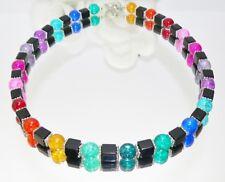 Blickfang Halskette KETTE WÜRFEL schwarz crash bunt multicolor mehrfarbig  239a