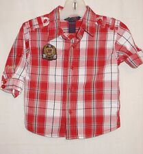 Infant Boys 3-6 months COOGI red plaid cotton L/S shirt convertible sleeves XC