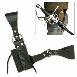 Sword Frog with Adjustable Lacing Universal Heavy Duty Leather Black 8 Inch