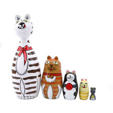 Russian Nesting Cats Painted Wooden Nesting Dolls Matryoshka Set(5pcs) 8C
