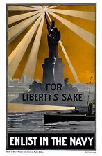 FOR LIBERTY'S SAKE ENLIST IN THE NAVY  Wall Poster Art print Recruitment decor