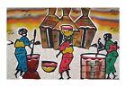 Grand tableau de sable africain du sénégal scene de vie femmes au village