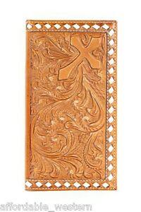 Buckstitch TOOLED Leather CROSS ~Nocona RODEO WALLET Checkbook~ Roper N54606 18