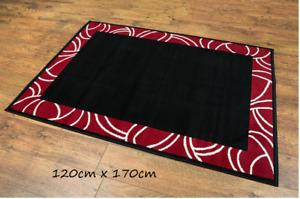 LUXURY BLACK ON RED RUG CARPET LARGE SIZE 120cm x 170cm BRAND NEW HIGH QUALITY