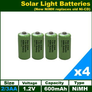 4 x 2/3AA (Two Thirds AA) Solar Light Batteries Rechargeable 1.2V NiMH 30mm Long