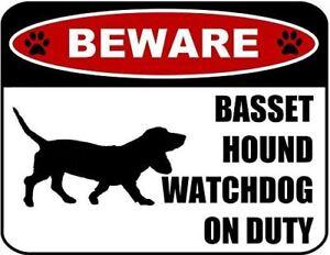 Beware Basset Hound Watchdog On Duty (Silhouette) Laminated Dog Sign