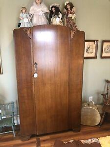 Antique Armoire Closet Wardrobe 1930s Walnut Venere Art Deco Art Nouveau 73 X 42