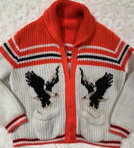 Vintage 70's Cowichan Eagle Cardigan Chunky Sweater Unisex Collegiate Americano