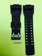 16mm Fits CASIO GA-100 G-Shock Black Rubber Watch Band GA-110 GA-120 GA-300
