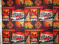 REALISTIC FIRETRUCKS BLOCKS FIREMEN SAVE LIVES RED BLACK COTTON FABRIC FQ