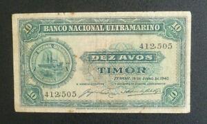 Timor Banknote - 1940 10 Avos gF (P13) Scarce