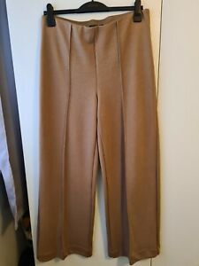 Womens Marks And Spencer Pull On Elasticated Wide Leg Camel Trousers. Size 14