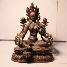 Tibet Red Copper Bronze Green Tara Buddhiasm Kwan-yin Bodhisattva Buddha Statue