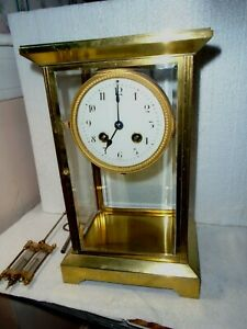 """Antique-French """"Japy""""  Brass Crystal Regulator Clock-Ca.1900-To Restore-#F368"""