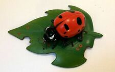 Rare Nature Crafts Wood/Wooden Ladybug On Leaf Figurine ~ Highly Detailed w/Tag