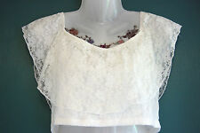 H&M cream lace crop top - Victorian vintage retro classical angel gypsy goth - L
