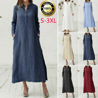 Womens Kaftan Cotton Linen Long Sleeve Solid Loose Casual Shirt Maxi Dress Plus