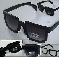 Pixel 8 Bit Style Pixelated Square Nerd Geek Sun Glasses _ Black Gloss or Matte