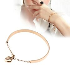 Lady Women's Stainless Steel Crystal Love Heart Charm Bangle Bracelet For Gift
