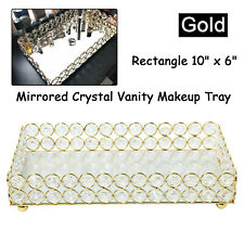 New! Mirrored Crystal Vanity Makeup Tray Organizer Cosmetic Perfume Bottle Tr