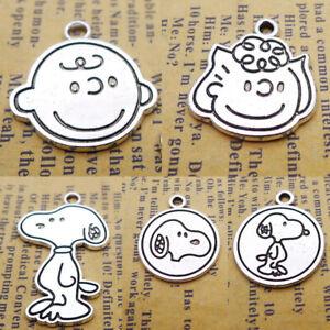 5pcs Mix Charms Cartoon Boy Girl Dogs Tibetan Silver Beads Pendant DIY 20*23mm