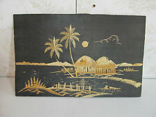 Authentic Handmade in India Woven Straw Mural-Huts and Palm Trees