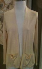 Eileen Fisher Petite Medium Soft Yellow 100% Silk Cardigan Sweater W Pockets