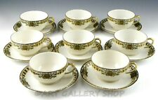 Antique Limoges Jean Pouyat France Cups And Saucers Gold Trim Set of 8