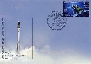 Kyrgyzstan 2021 FDC Space Stamps Salyut Orbital Space Station 1v Set