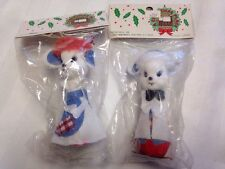 Vintage White Mouse Mice choir boy girl w/ apron Christmas Ornaments 2 Set JAPAN