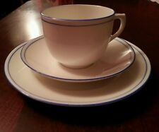 FOLEY China E Brain & Co 1930s Trio. Cup, saucer + plate. White, Blue rim + band
