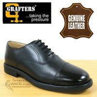 Grafters On Parade Mens Boys Capped Oxford Cadet Boots Black Leather Dress Shoes